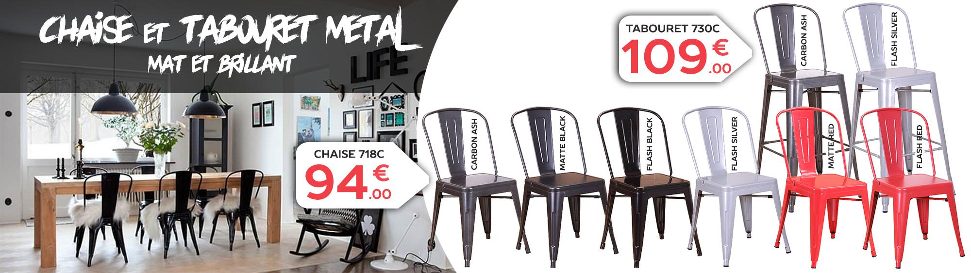 Chaise en métal style tolix multiple couleurs disponibles