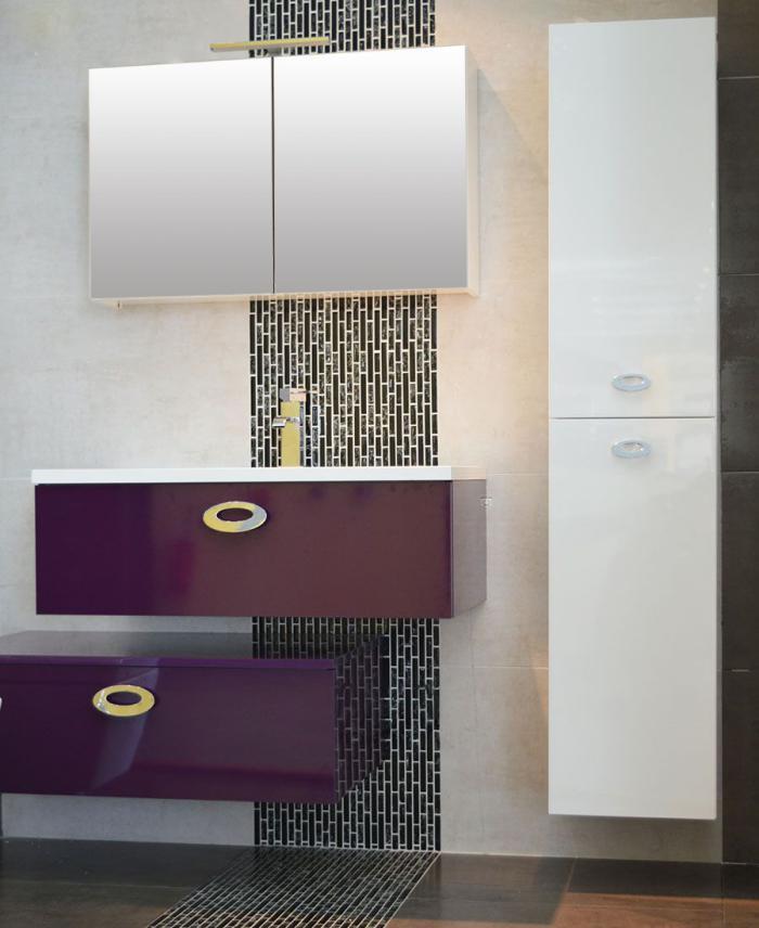 ensemble meuble simple vasque vogue 90 prune ales gard - Meuble Salle De Bain Prune