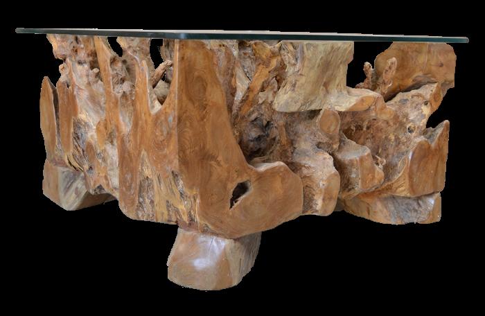 mercier carrelages table basse en racine de teck plateau en verre rectangulaire. Black Bedroom Furniture Sets. Home Design Ideas