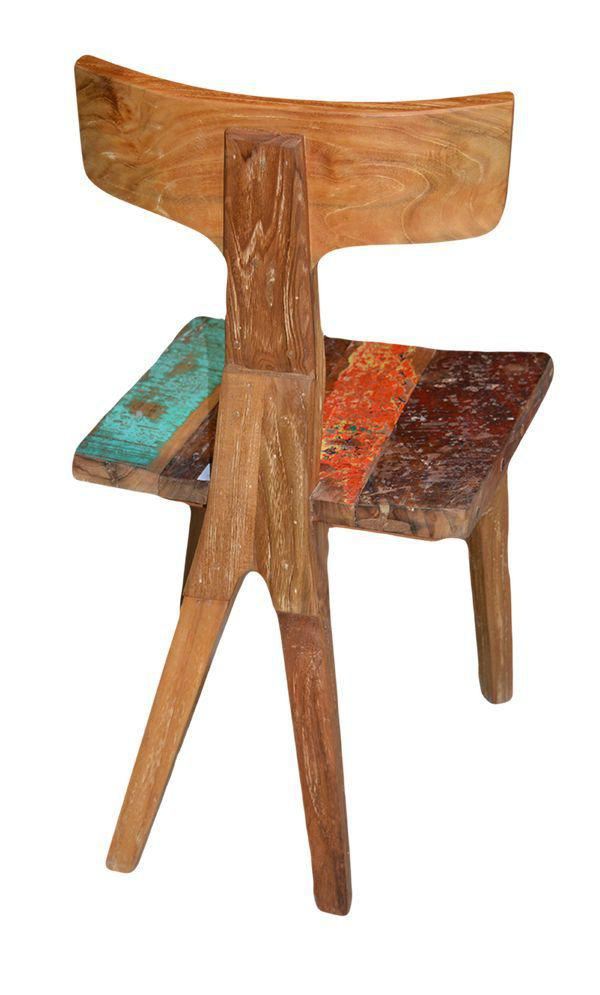 Mercier carrelages chaise en bois de teck assise color for Chaise bois coloree