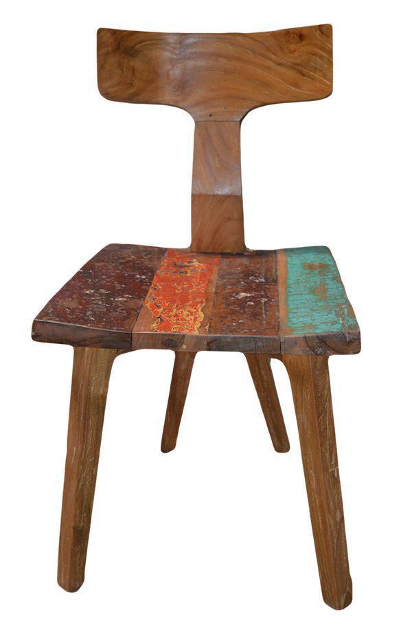 Mercier carrelages chaise en bois de teck assise color for Chaise qui s accroche a la table