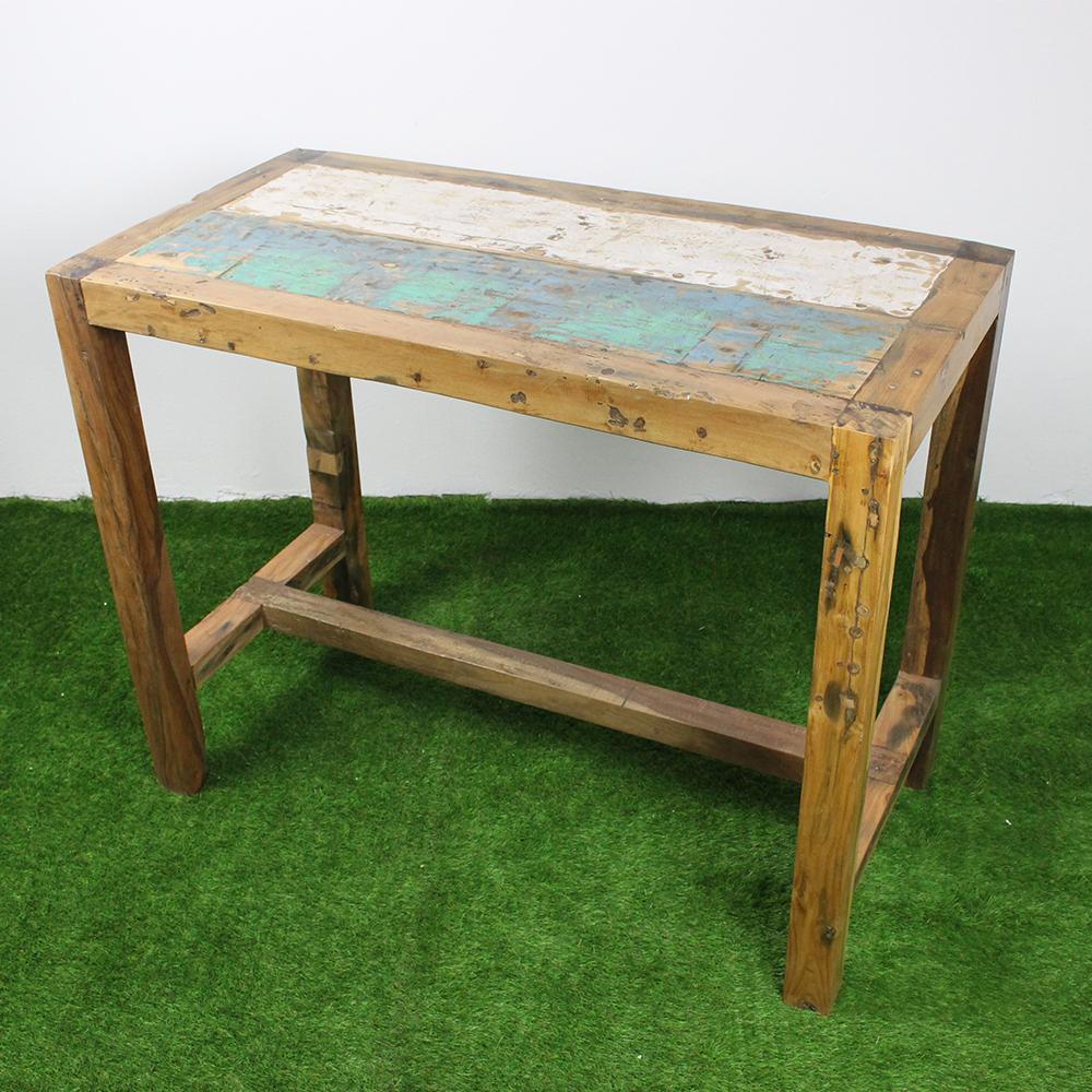 Mercier carrelages table haute 140x70 teck recycl - Table haute en bois ...
