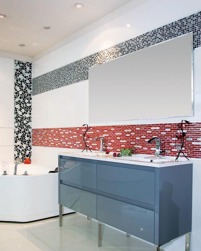 Meuble Salle De Bain 140 Cm Laqué Gris + Mosaique En Verre Craquelé  Acqualine Rouge Blanc