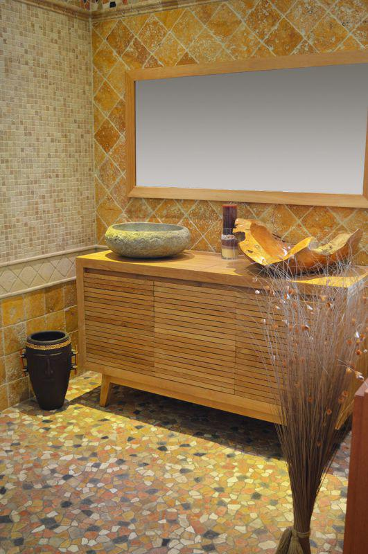 vasque au sol salle de bain Meuble salle de bain en teck double vasque + mosaique pierre naturelle mix  a sol